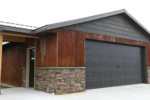 Mocha Ledgestone with Old Metal Siding