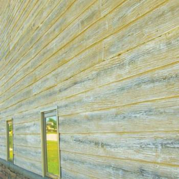 Ledgestone Wainscot & Weathered Wood Lap Siding Metal Building